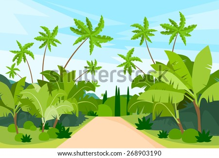 Jungle Forest Green Landscape with Road Path and Blue Sky Vector Illustration - stock vector