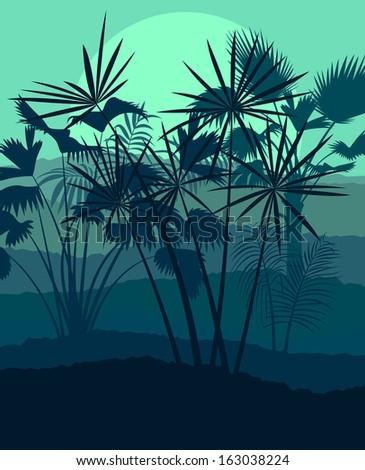 Jungle forest landscape vector background concept - stock vector