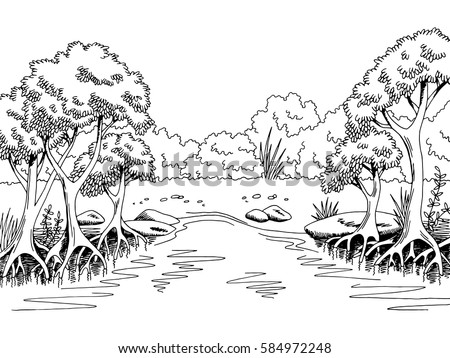 Dog Nature Scene Outline Black And White