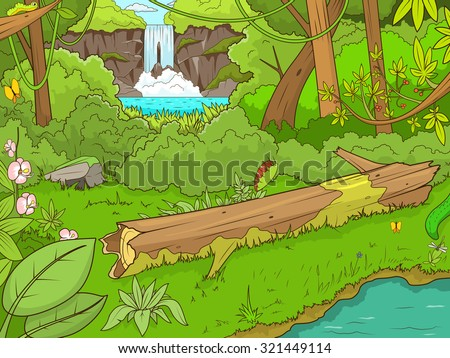 Jungle forest with waterfall cartoon vector illustration