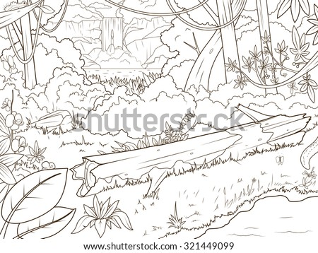 Jungle Forest Waterfall Coloring Book Cartoon Stock Vector