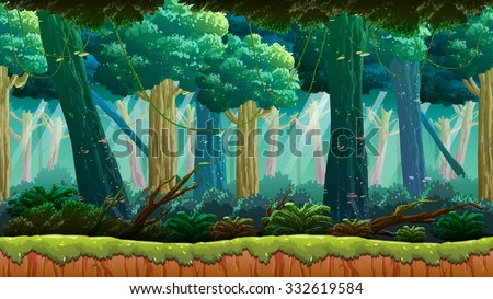 Jungle Game Background - stock vector