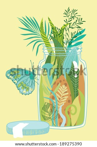 Jungle in the Glass Jar - stock vector