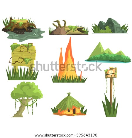 Jungle Landscape Elements  Realistic Flat Vector Illustration Set For Video Game On White Background - stock vector