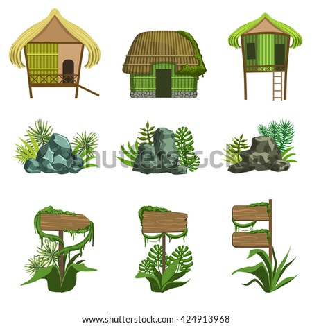 Jungle Landscape Elements Set Of Simple Style Flat Vector Illustrations On White Background - stock vector