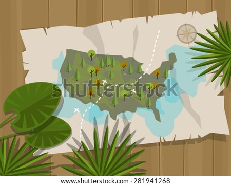 jungle map america treasure adventure cartoon