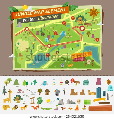 jungle map with graphic elements - vector illustration - stock vector