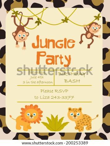 Jungle party invitation stock vector hd royalty free 200253389 jungle party invitation stopboris Images