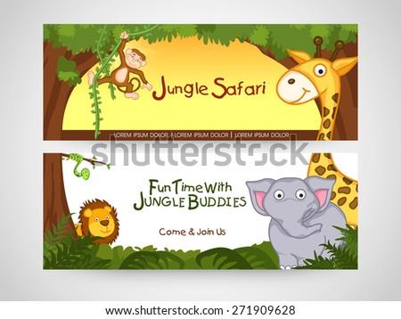 Jungle safari banner or website header with wild animal. - stock vector