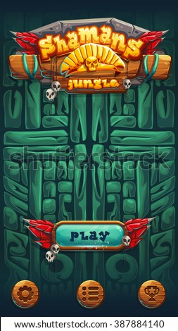 Jungle shamans user interface play window screen. Vector illustration for web mobile video game.