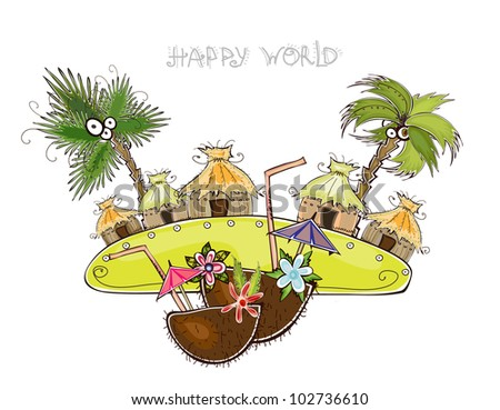 """Jungle village Travel background """"Happy world"""" collection - stock vector"""