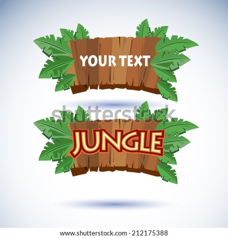 jungle wood sign vector - stock vector