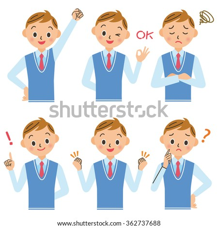 Junior high school boy, high school student pose set - stock vector