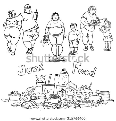 Junk food and obese people. - stock vector