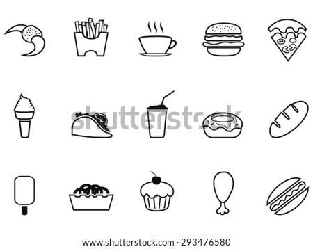 junk food fast food outline icons set - stock vector