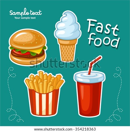 Junk food icon design. Flat illustration of unhealthy food, diet symbol or restaurant menu element. French fries, ice cream, hamburgers and other fast food symbols.