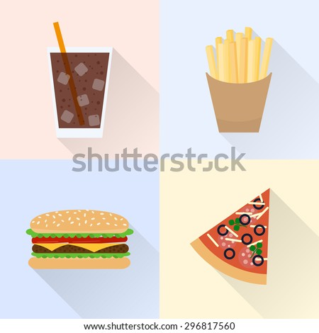 Junk food set. Cola, french fries, burger, slice of pizza. Flat style with long shadows. - stock vector