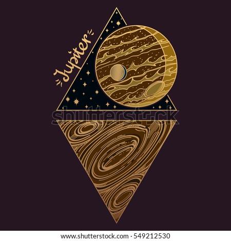 Jupiter Planets Stars Solar System Symbols Stock Photo Photo