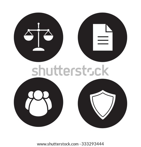 Jurisprudence and law black icons set. Lawyer white silhouettes illustrations. Scale of justice and court jury circle symbols. Protection shield and agreement document. Vector infographics elements - stock vector