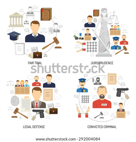 Jurisprudence fair trial process with legal defense and convict 4 flat icons composition abstract isolated vector illustration - stock vector