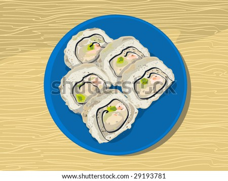 just a californian rolls (editable layers) - stock vector