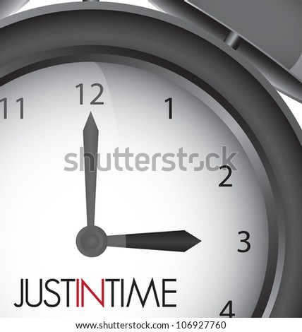Just in time clock illustration, vector design - stock vector