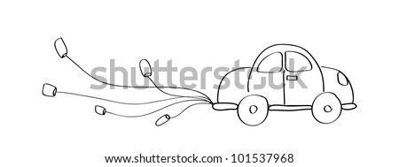 Just married car cartoon doodle hand drawing - Vector - stock vector