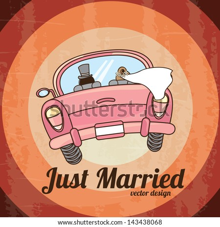 just married car  over grunge background. vector illustration - stock vector
