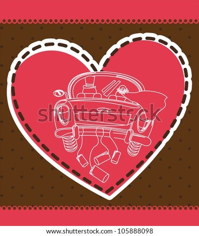 just married car over heart, card. vector illustration - stock vector