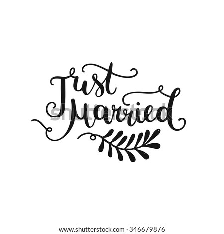 Just Married Hand Drawn Lettering Design Stock Vector ...