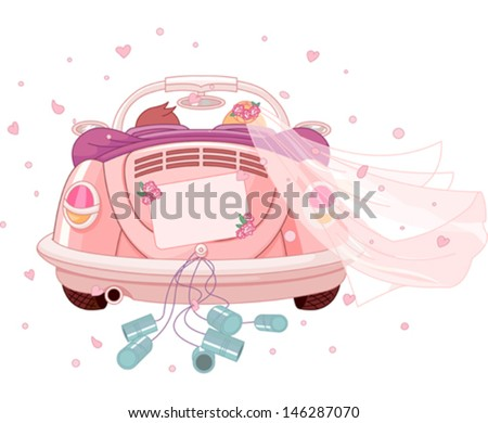 Just married on car - stock vector