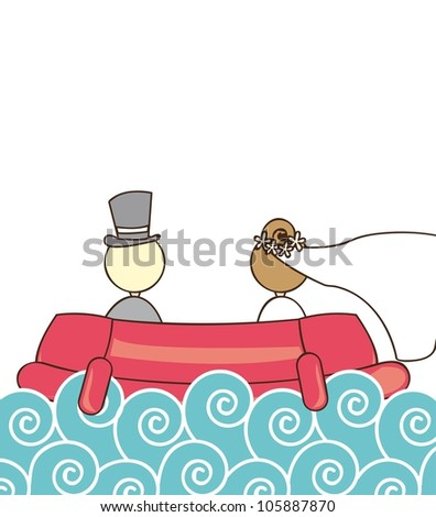 just married over ship and sea. vector illustration - stock vector