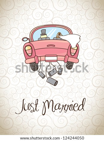 Just married over vintage background vector illustration - stock vector