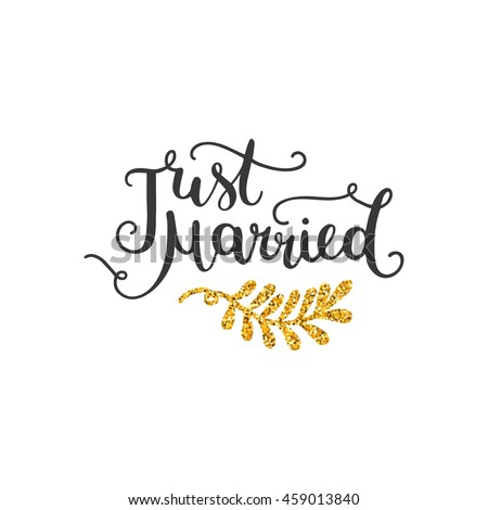 Just married vector golden save date stock vector 459013840 just married vector golden save the date card hand drawn lettering with glitter for stopboris Image collections