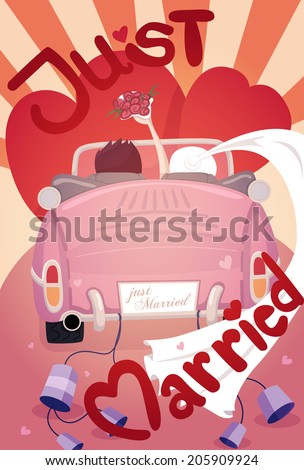 Just married wedding invitation card design , eps10 vector format - stock vector