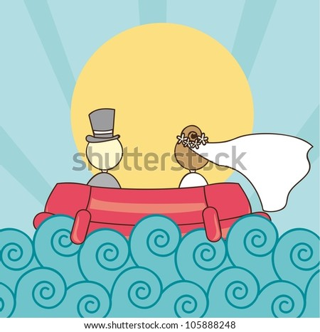 just married with ship with sea and sun. vector illustration - stock vector