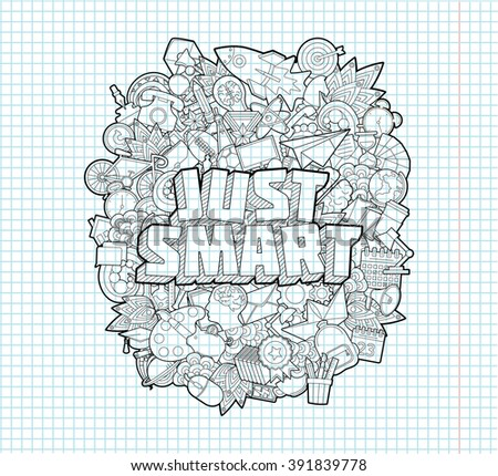 Just Smart - Hand Lettering and Doodles Elements Sketch. On Exercise book  page in square Background.Vector illustration - stock vector