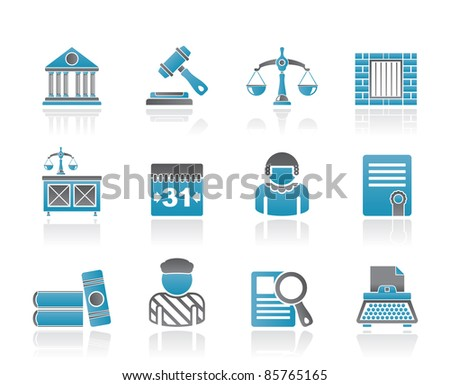 Justice and Judicial System icons - vector icon set - stock vector