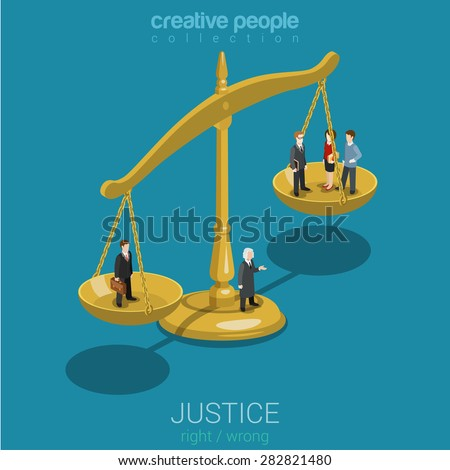 Justice and law, judgment and decision, court session, judicial sitting flat 3d web isometric infographic concept vector. Micro casual people judge bowls of scales. Creative people world collection. - stock vector