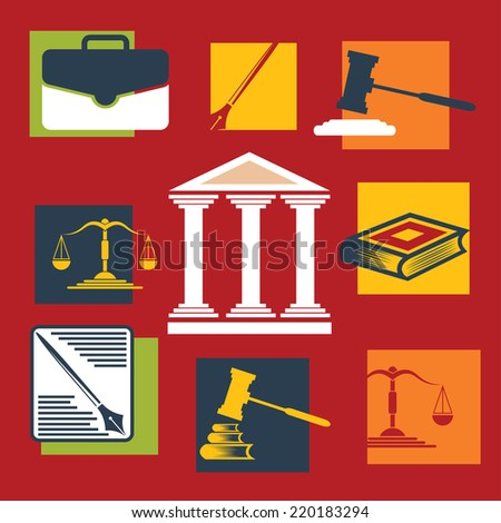Justice and law. Vector icons.Flat design - stock vector