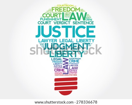 Justice bulb word cloud concept - stock vector