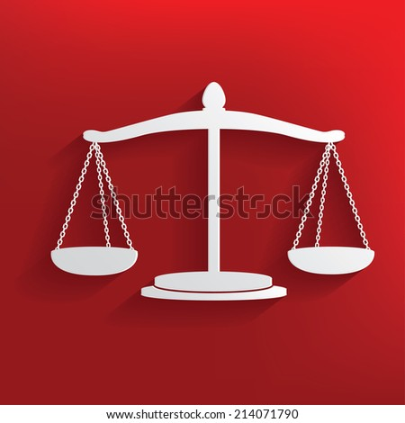 Justice design on red background,clean vector - stock vector