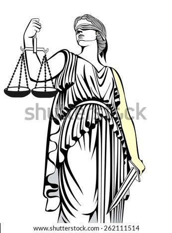 justice.Greek goddess Themis.Equality .A fair trial.Law.  - stock vector