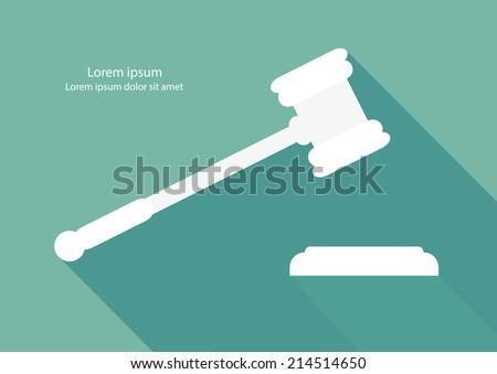 Justice hammer flat design vector. - stock vector