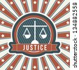 justice icon over vintage background. vector illustration - stock vector
