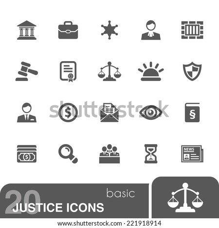 Justice icons set. - stock vector