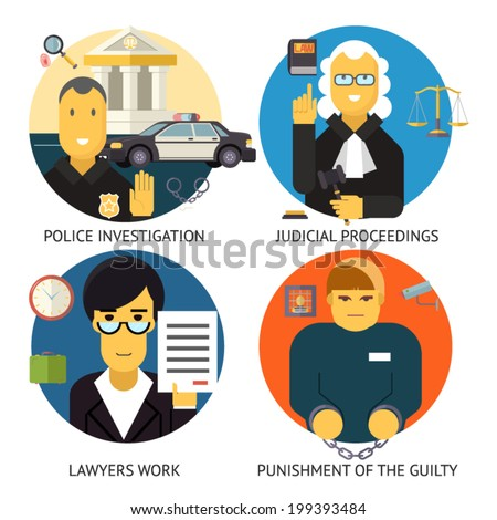 Justice Law and order Legal Services Symbol Crime and Punishment  Social Responsibility Icons Set Isolated on Stylish Background Modern Flat Design Vector Illustration - stock vector