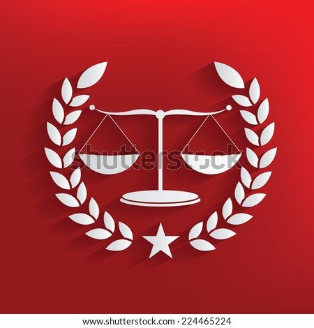 justice scale badge symbol on red background,clean  vector - stock vector