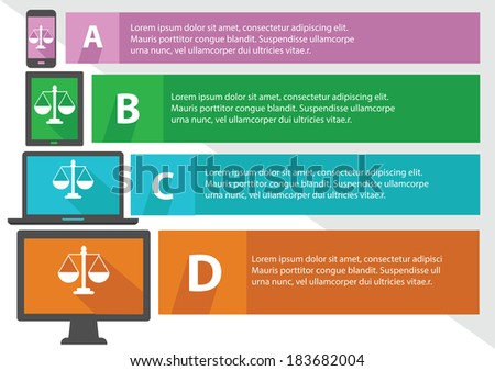 Justice scale concept,Banners,Colorful version,vector - stock vector