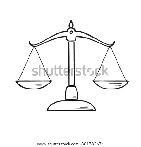 Justice  scale doodle style vector. - stock vector